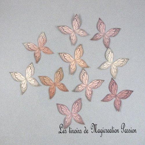 Lot 10 autocollants ailes papillons soie 3.5 cm marron, collection ysatis