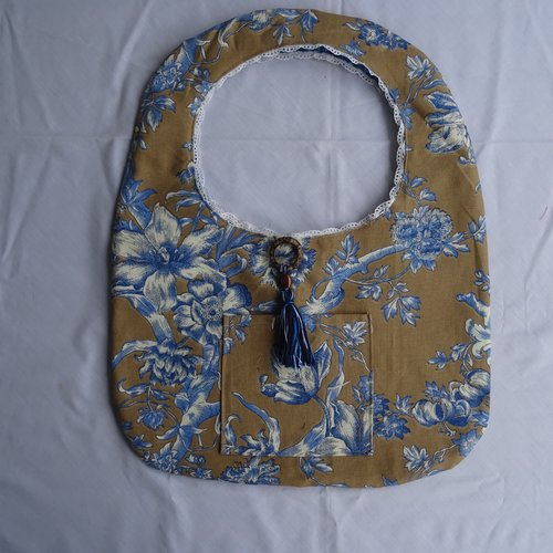Sac en toile de jouy marron et bleu  réversible de liberty , vintage ;