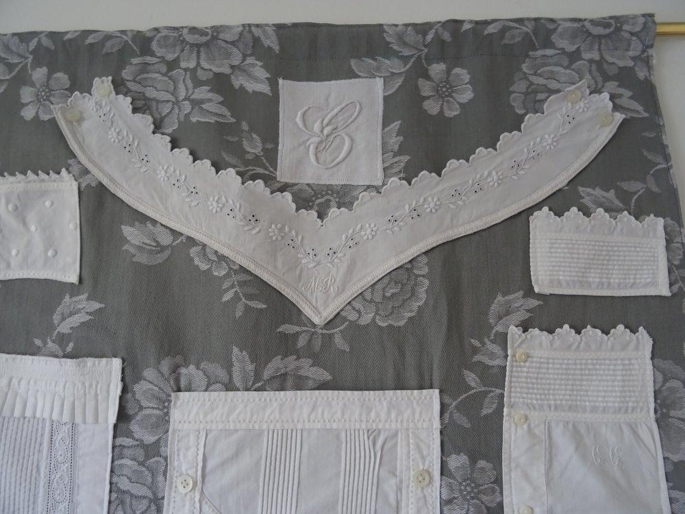 Organisateur , vide poche mural en tissu ancien , vintage ;