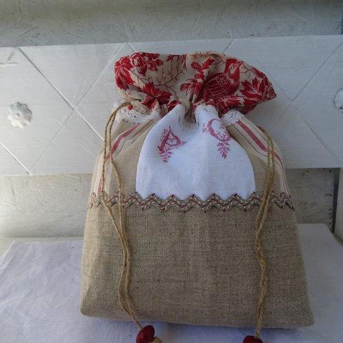 , pochon , sac à linge , en linge ancien , monogramme , lin , dentelle , croquet , vintage ;