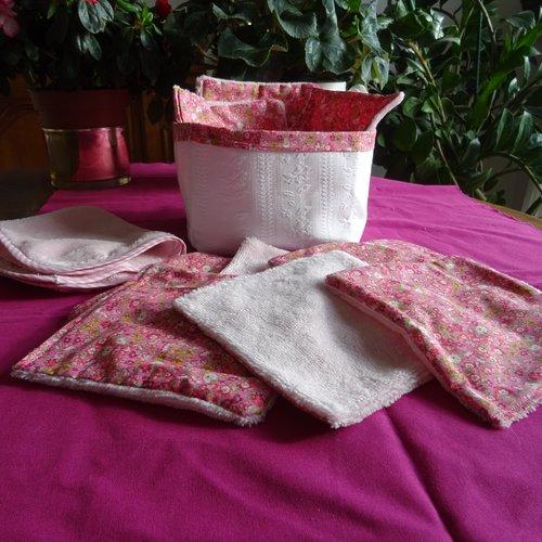 9 lingettes bambou rose liberty , serviette , panier rangement , toilette bébé , démaquillantes , cadeau naissance , salle de bain ,