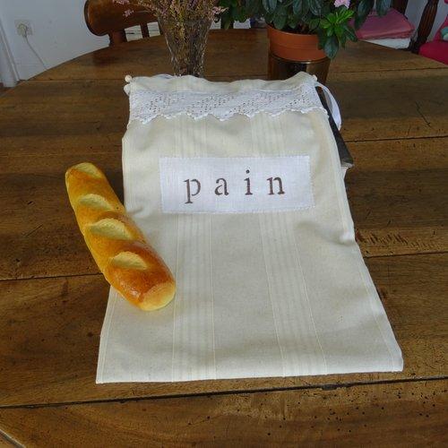 Sac à pain en lin écru , doublé linge ancien , dentelle , vintage ;
