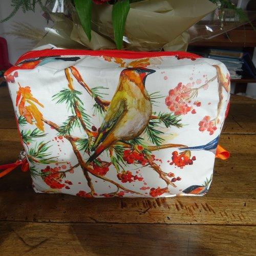 Trousse de toilette en popeline de coton , décor des oiseaux , colorée , vif , fantaisie , mode !