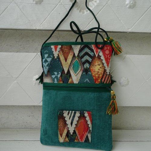 Sac pochette  bandoulière , en velours chenille , vert , et imitation tapisserie , pratique , fantaisie ;