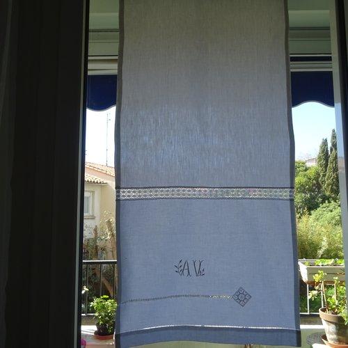 Panneau rideau  , linge ancien , monogramme , jours , entre- deux , blanc , vintage ;