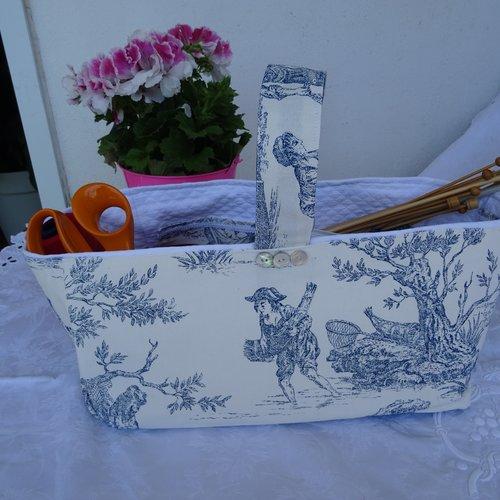 Panier rangement , toile de jouy , blanche bleu , pour tricotage , couture , poches intérieures , cadeau fêtes des mères , vintage ;