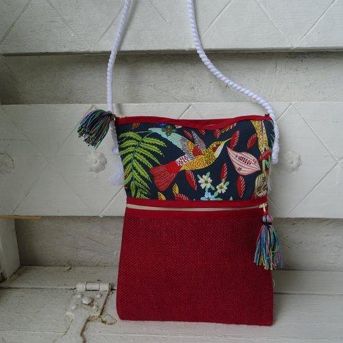 Sac , pochette en bandoulière , imprimé , oiseau des îles , toile de jute , poche portable sécurisée , pratique élégant ;