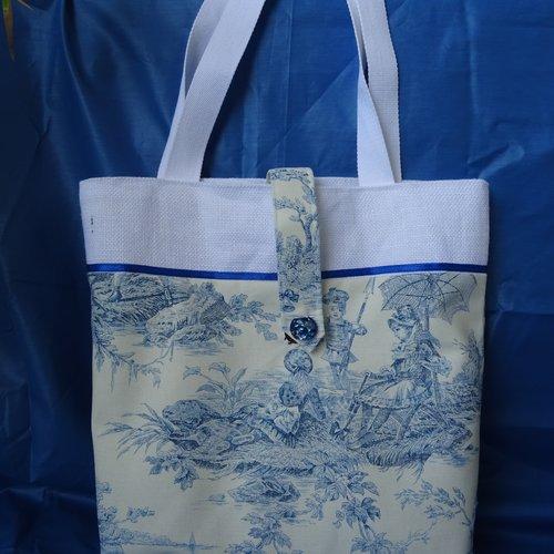 Sac cabas en toile de jouy bleu , blanc , coton , toile de jute blanche , pression magnétique , doublé , vintage ;
