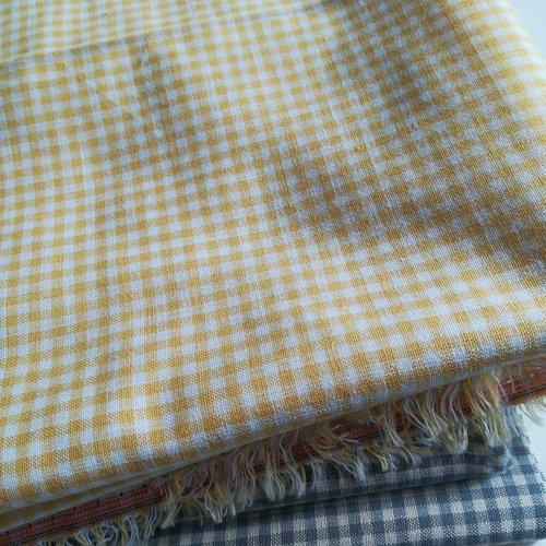 Coupon tissu coton vichy jaune carreaux 135x50cm m