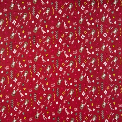 Coton de noël - rudolf sur fond rouge