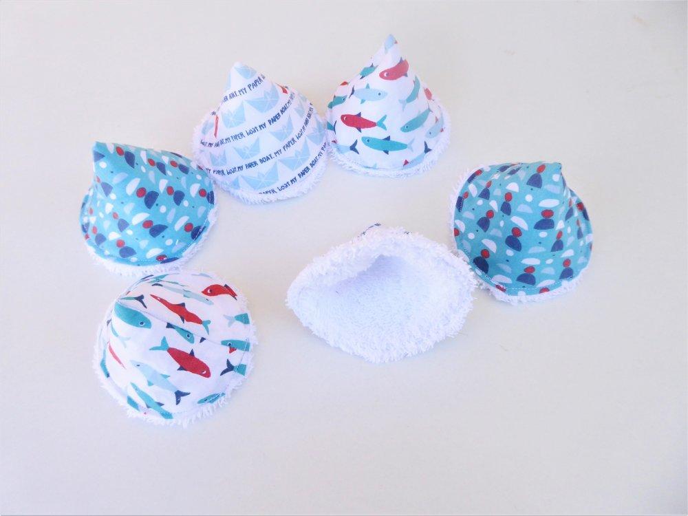 6 tipis à pipi, cônes à pipi, coton oeko tex, thème mer