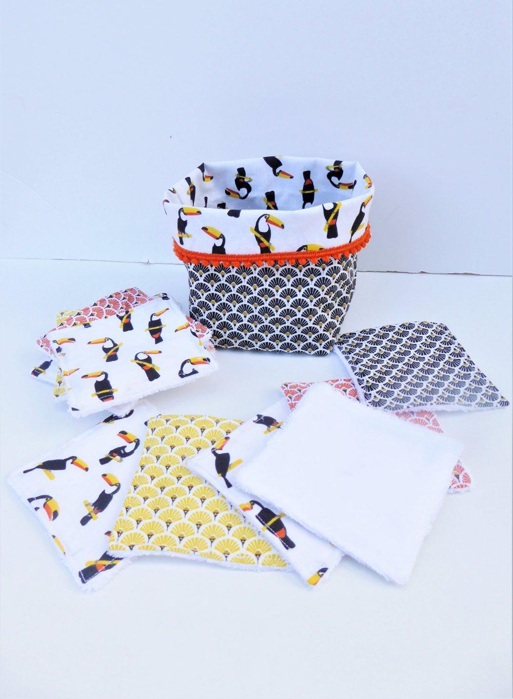 12 lingettes lavables démaquillantes, en coton oeko tex et eponge bambou