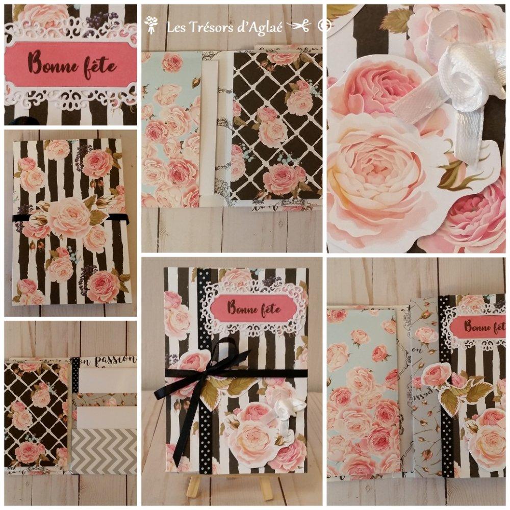 """Album Scrapbooking Folio """"Bonne Fête""""  thème: """"Bouquet de Roses, Floraison""""  Idéal pour la Fête des Mamans"""