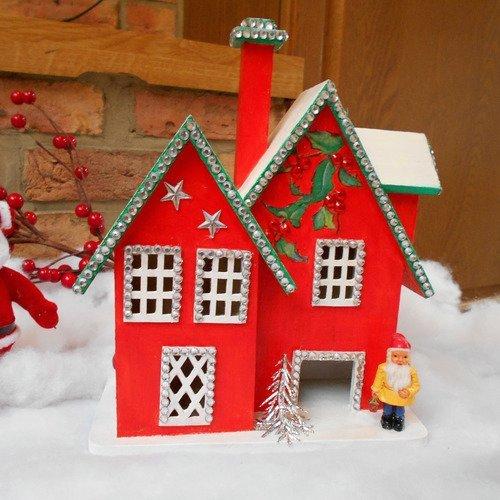 Décoration de noël maison rouge en bois - centre de table de noël