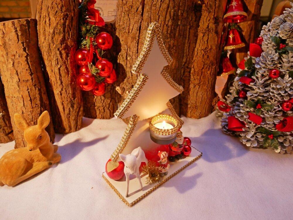 Centre de table de Noël et décoration de Noël sapin blanc en bois déco dorée et photophore