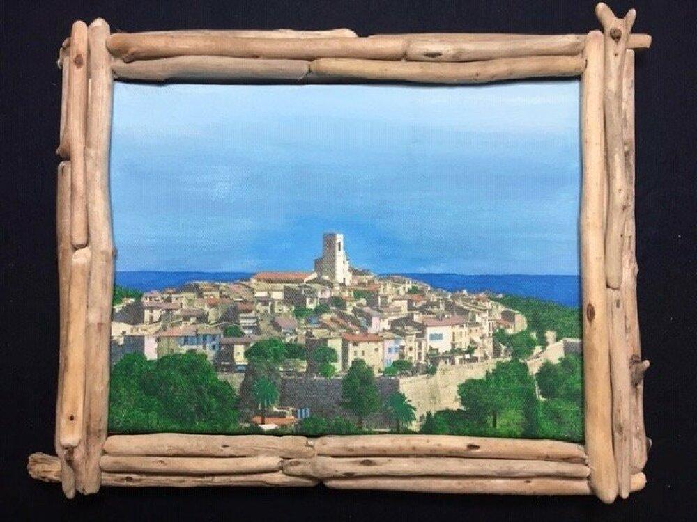 """Peinture sur toile """"St Paul de Vence et la Mer"""""""