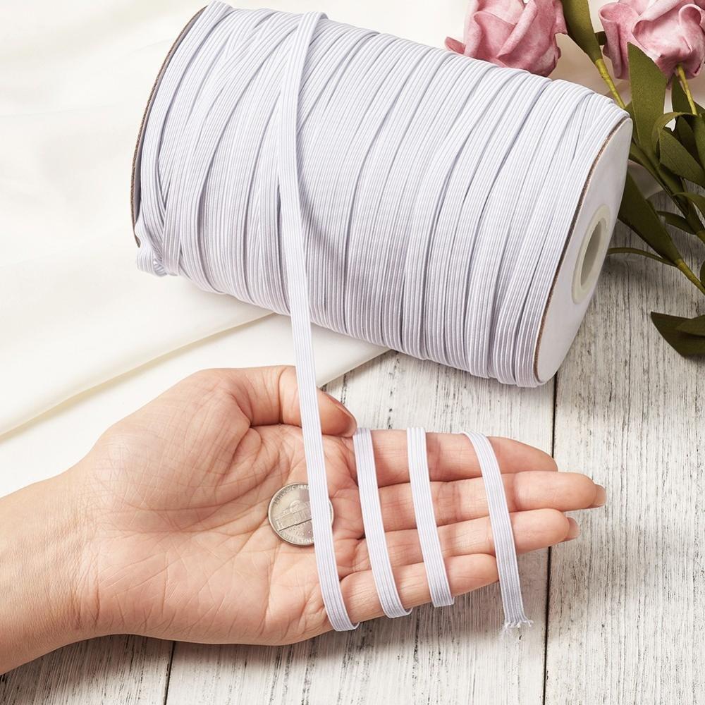 2 Mètres Cordon / fil élastique PLAT 8 mm BLANC - couture, masques, bricolage, bijoux