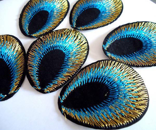 LOT 10 Thermocollants Queue de paon 5 CM - Customisation textile Applique / patch à repasser - Turquoise noir et doré