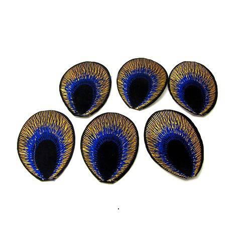 LOT 5 Thermocollants Queue de paon 5 CM - Customisation textile Applique / patch à repasser - bleu roi noir et doré