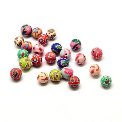 couleur mélangée Lot 20 Perles en pate polymère faites à la main 8mm