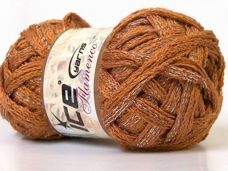 1 PELOTE de fil pour Aiguille à tricoter 8 mm , 30 m FLAMENCO MARRON  CAMEL + DORE * 1 Echarpe *