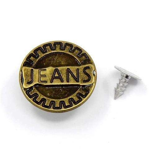 vintage 27mm 4 boutons métal doré dessous et bronze dessus 2598D