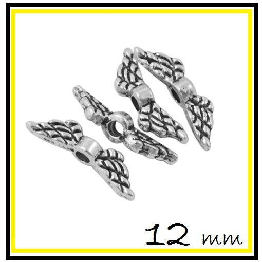 LOT 10 Perles Ailes 12 mm en métal argenté - intercalaire / séparateur ange petit modèle