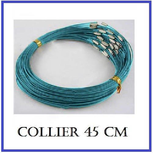 Collier en metal bleu canard 45 cm à fermoir vis - fil 1 mm - métal câblé pour bijoux semi rigide