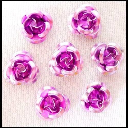 roses métal aluminium 6 mm Mauve 90 perles fleurs
