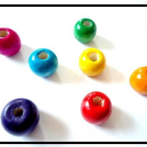 Lot de 20 Perles rondes en Bois 14mm Rouge Orangé