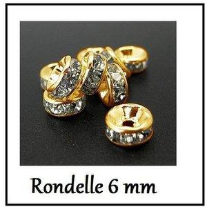 500 Perles Intercalaires Rondelles Strass Argenté 6mm