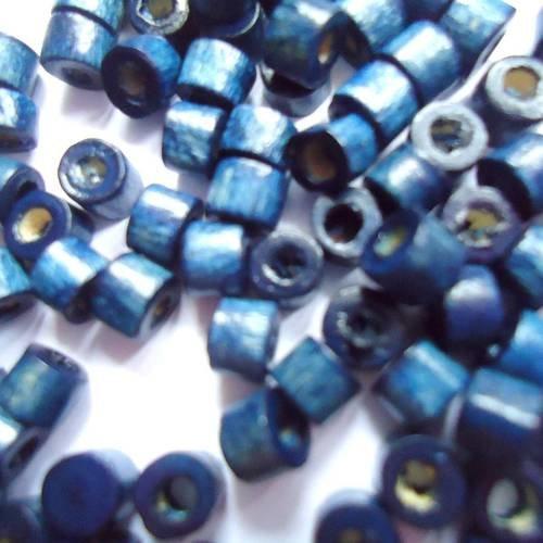 100 Perles Bois Tube 2 coloris Noir Rouge