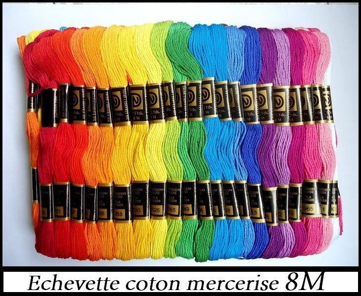 LOT 10 Echevettes couleur broderie, canevas, bracelet brésilien - fil coton mercerisé pour création de bijoux