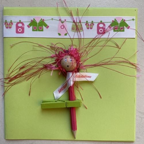 """Carte """"laurette"""" vert anis félicitations naissance"""