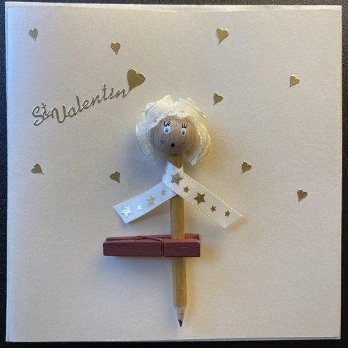 """Carte """"laurette"""" ivoire nacré de saint valentin"""
