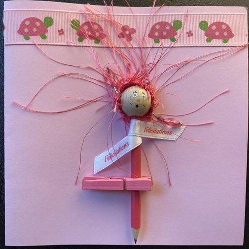 """Carte """"laurette"""" rose félicitations naissance"""