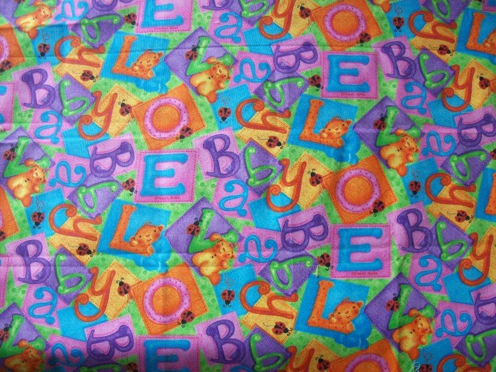 tissus patchwork -  coupon de 45x55 cm - fond bleu - motifs enfantins -