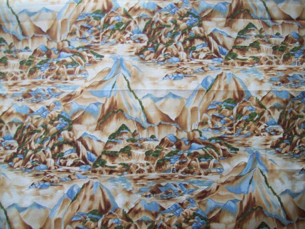 tissus patchwork -  coupon de 45x55 cm - Fond beige, motifs paysage de montagne -