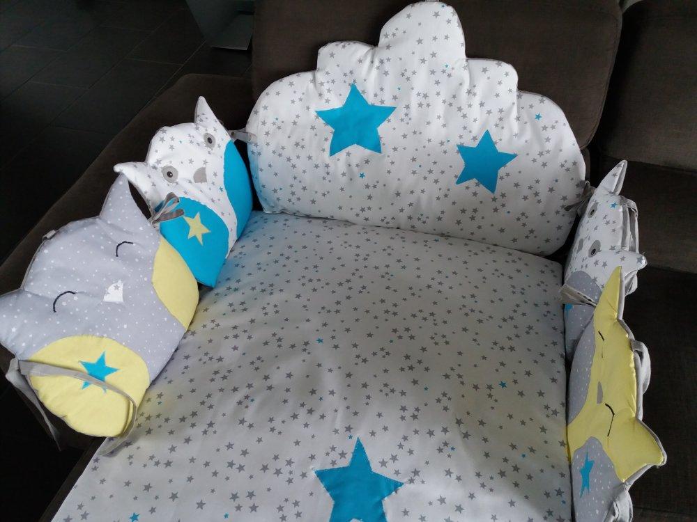 tour de lit nuage+plaid bleu turquoise/jaune clair /blanc