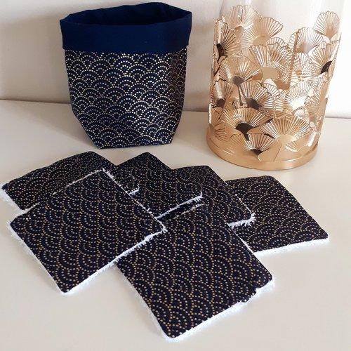 Lot panier+6 lingettes lavables éponge bio thème éventail doré/bleu marine