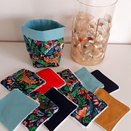 Lot panier+10 lingettes lavables éponge bio thème jungle,singe,tigre,noir/vert