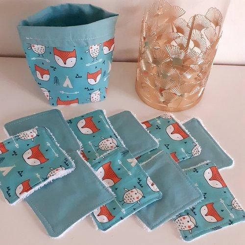 Lot panier+10lingettes lavables éponge bio thème renard roux,tipi,flèche fond vert amande