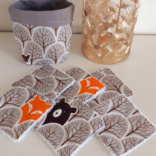 Lot panier+6 lingettes lavables éponge bio thème forêt grise ours brun/renard roux