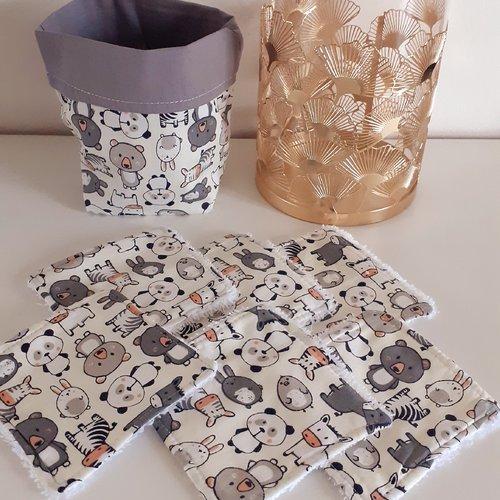 Lot panier+6 lingettes lavables éponge bio thème les petits animaux mignons gris