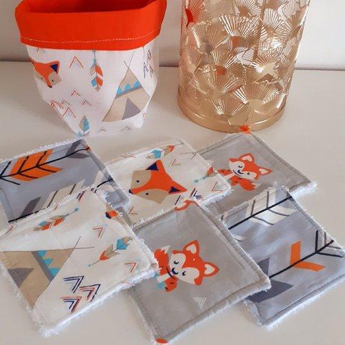 Lot panier+6 lingettes lavables éponge bio thème plume/flèche/renard roux,blanc