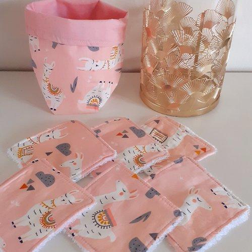 Lot panier+6 lingettes lavables éponge coton bio thème lama blanc/rose clair
