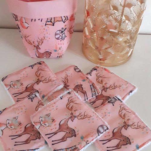 Lot panier+6 lingettes lavables éponge coton bio thème biche,renarde,raton laveur,tipi/rose poudré