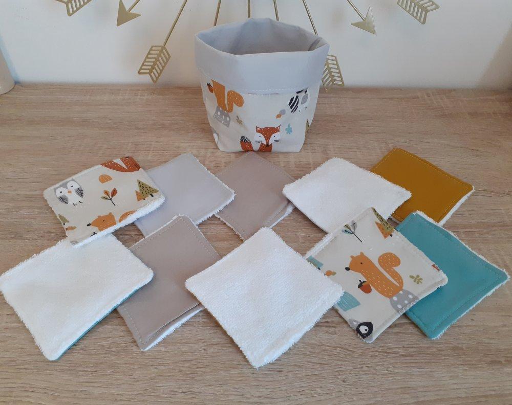 """Lot un panier+10 lingettes lavables éponge bio thème """"les animaux de la forêt"""""""