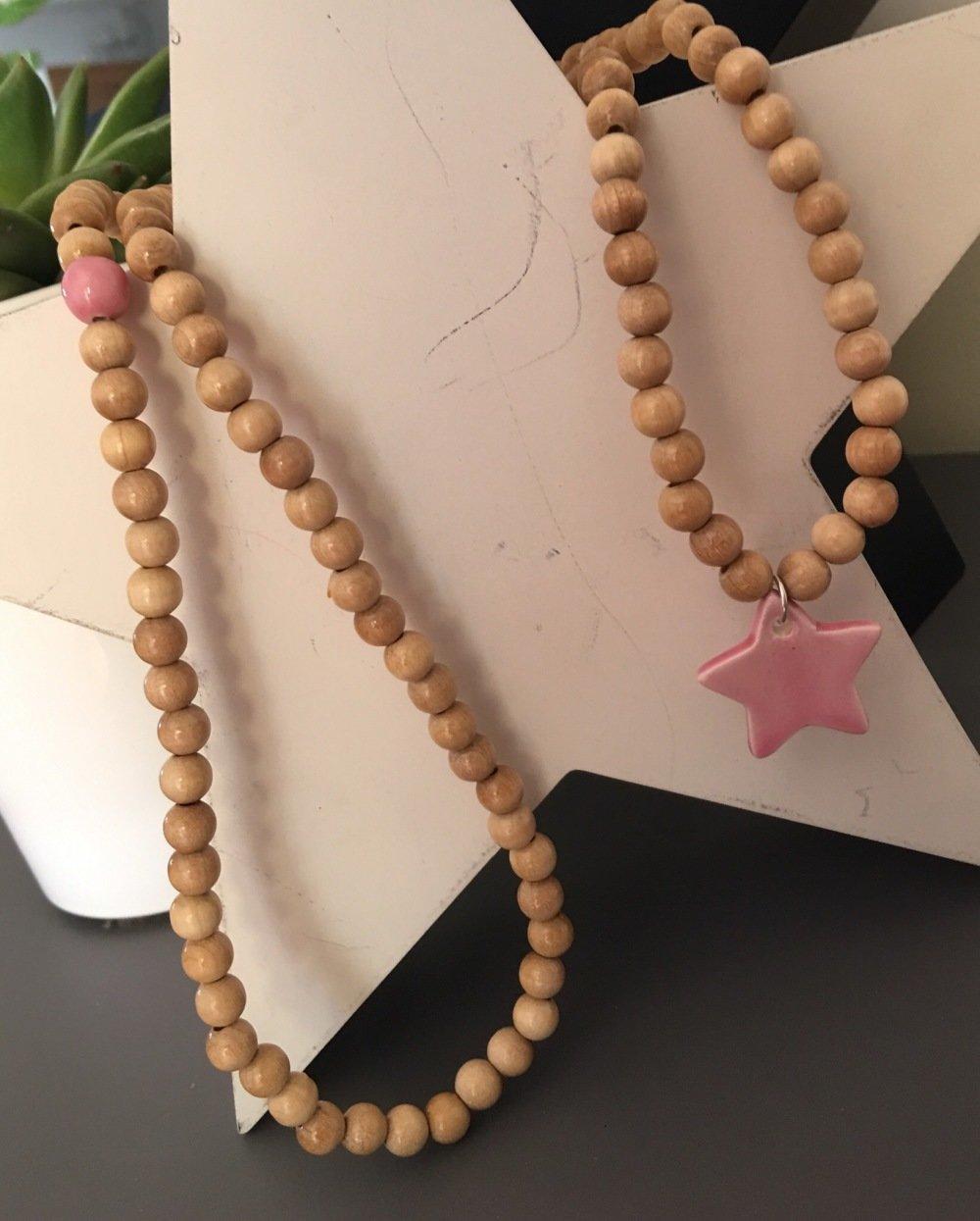 Collier sautoir bohème  bois - etoile ceramique «rose clair»