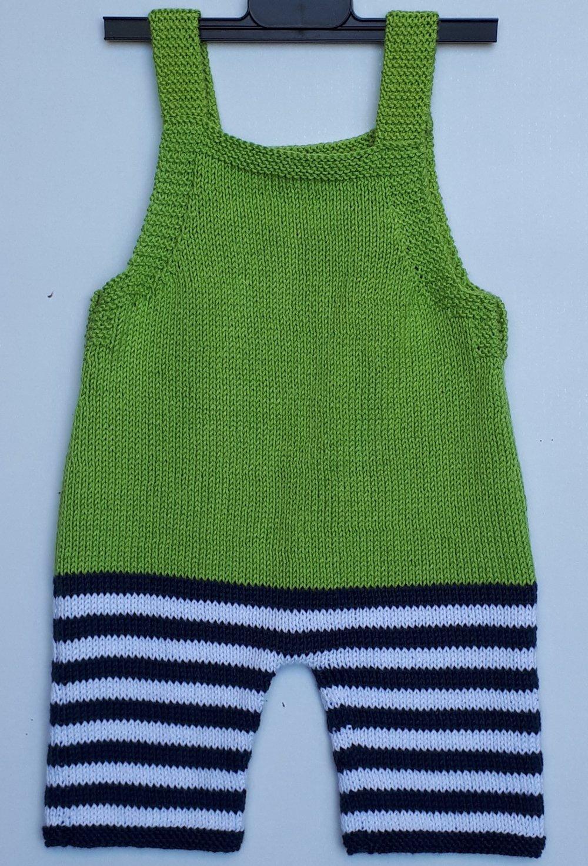 Salopette bébé 6 mois layette tricot main  coton éléphant